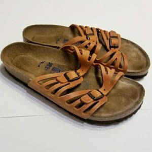 Birkenstock | Orange Flat Sandals (Euro Size 38)